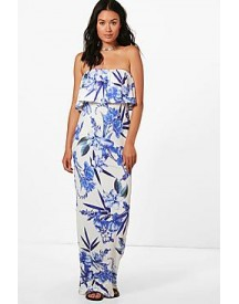 Nicole Tropical Floral Bandeau Maxi Dress afbeelding