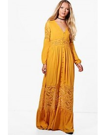 Paige Lace Insert Western Maxi Dress afbeelding