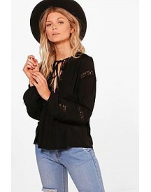 Petite Alexis Embroidered Blouson Sleeve Shirt afbeelding