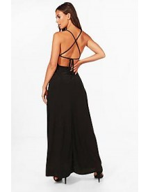 Petite Emma Plunge Strappy Back Maxi Dress afbeelding