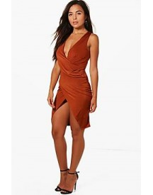 Petite Kady Slinky Cowl Neck Wrap Dress afbeelding