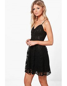 Petite Kate Lace Strappy Skater Dress afbeelding