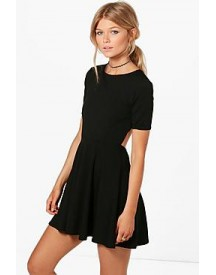 Petite Kiera Key Hole Cut Out Skater Dress afbeelding