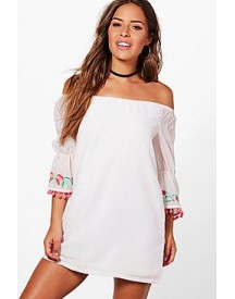 Petite Livi Off Shoulder Embroidered Shift Dress afbeelding