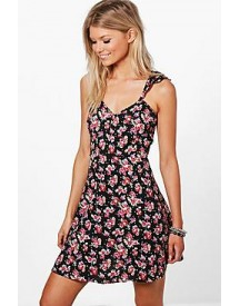 Petite Marnie Open Back Ruffle Detail Skater Dress afbeelding