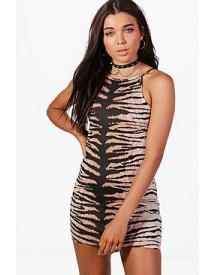 Petite Nancy Tiger Print Bodycon Dress afbeelding