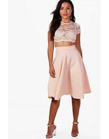 Petite Natasha Lace Crop And Full Midi Skirt Co-ord afbeelding