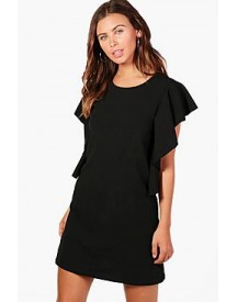 Petite Tash Crepe Frill Side Shift Dress afbeelding