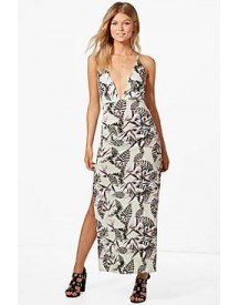 Petite Tiffany Tropical Print Plunge Maxi Dress afbeelding