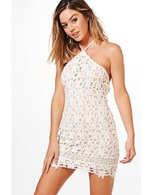 Petite Tora Halterneck Corded Lace Bodycon Dress afbeelding