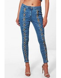 Petra Lace Up Front Skinny Jeans afbeelding