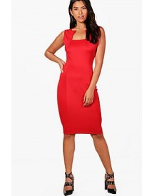 Phoebe Square Neck Fitted Midi Dress afbeelding