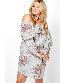 Plus Alice Floral Open Shoulder Dress afbeelding