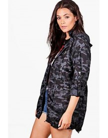 Plus Becca Camo Hooded Mac afbeelding