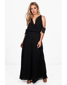 Plus Beth Ruffle Cold Shoulder Wrap Maxi Dress afbeelding