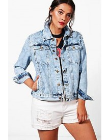 Plus Caitlin Oversized Pearl Denim Jacket afbeelding