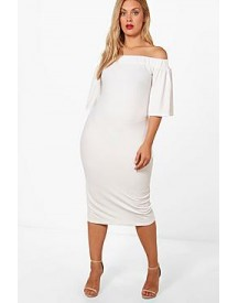 Plus Charis Off The Shoulder Frill Sleeve Midi Dress afbeelding