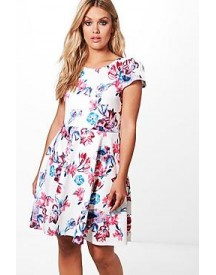 Plus Clara Floral Skater Dress afbeelding