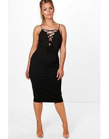 Plus Danielle Lace Up Midi Dress afbeelding