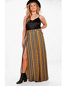 Plus Elise Printed Split Maxi Skirt afbeelding