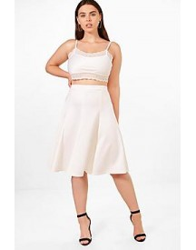 Plus Elsa Scuba High Waist Pleated Midi Skirt afbeelding