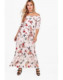 Plus Emma Off The Shoulder Tiered Floral Maxi Dress afbeelding