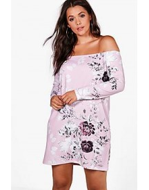 Plus Eve Off The Shoulder Floral Dress afbeelding