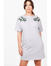 Plus Fiona Floral Embroidered Sweat Dress afbeelding