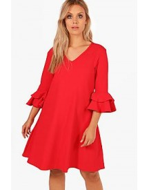 Plus Grace Crepe Ruffle Sleeve Shift Dress afbeelding
