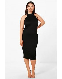 Plus Hayley Crepe High Neck Midi Dress afbeelding