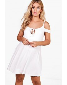 Plus Holly Cold Shoulder Mini Sundress afbeelding
