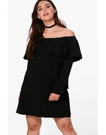 Plus Imogen Off The Shoulder Ruffle Shift afbeelding