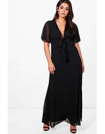 Plus Jemima Bow Front Sleeve Chiffon Maxi Dress afbeelding