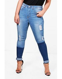 Plus Jenny Patchwork Skinny Ripped Jean afbeelding