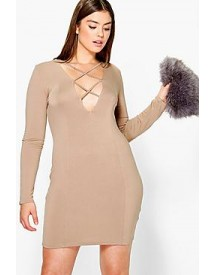 Plus Jessica Lace Up Bodycon Dress afbeelding