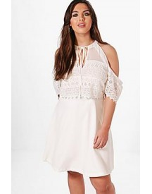 Plus Lisa Cold Shoulder Lace Skater Dress afbeelding