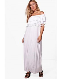Plus Liza Double Layer Tassel Trim Maxi Dress afbeelding