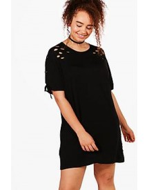 Plus Louise Lace Up Shoulder Oversized T-shirt Dress afbeelding
