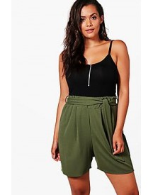 Plus Lucy Tie Belt Pleated Shorts afbeelding