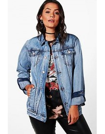 Plus Maya Acid Wash Denim Jacket afbeelding