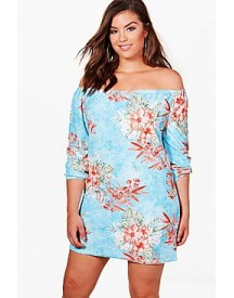 Plus Sophie Off The Shoulder Printed Shift afbeelding
