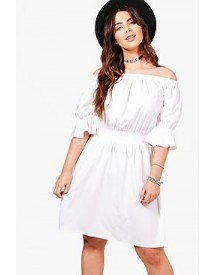 Plus Tia Off Shoulder Frill Sleeve Dress afbeelding