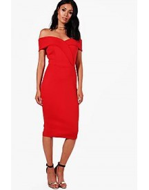 Rita Off Shoulder Detail Midi Dress afbeelding