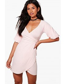 Rosie Wrap Balloon Sleeve Bodycon Dress afbeelding