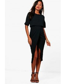 Sadiya Layered Wrap Wiggle Midi Dress afbeelding