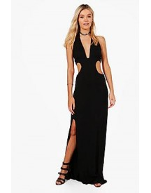Sara Cut Out Cross Strap Split Maxi Dress afbeelding