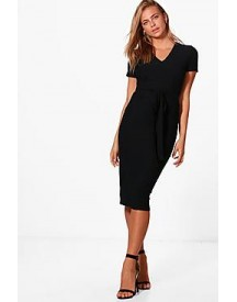 Sarah V-neck Tie Waist Fitted Dress afbeelding