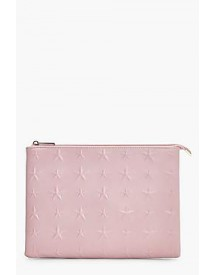Skye Embossed Star Zip Top Clutch afbeelding