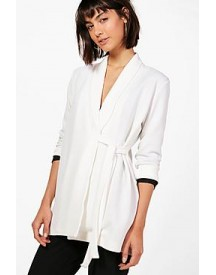 Sofia Collarless Tie Side Belted Jacket afbeelding