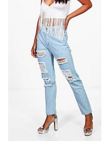 Sophie Distressed Studded Mom Jeans afbeelding